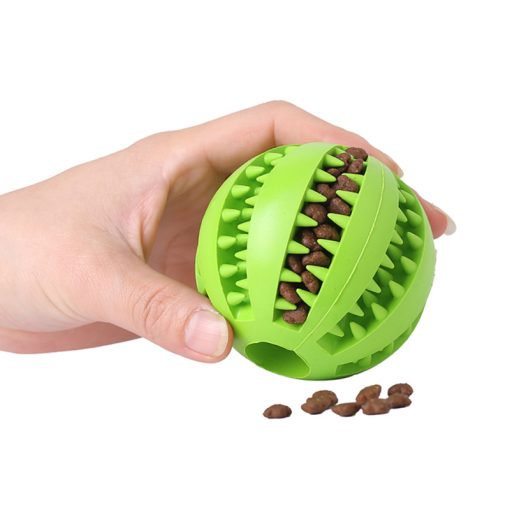 Dog chew toys dog balls green color with food