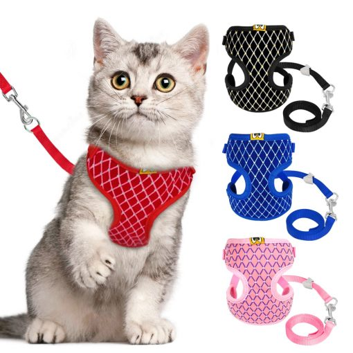 Mesh Cat Harness puppy harness and Leash Set show