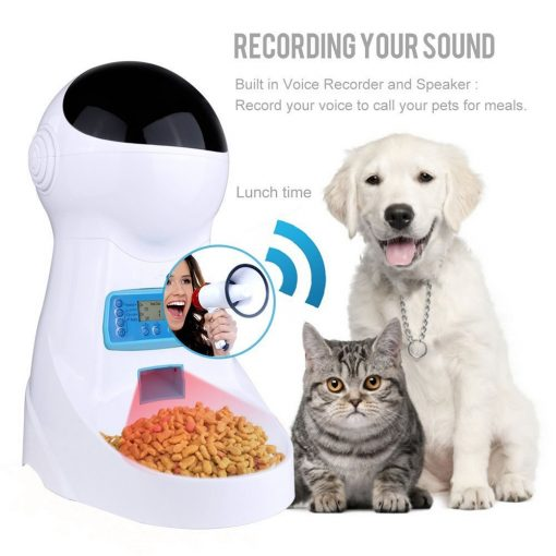 Automatic Cat feeder and puppy dog feeder sound record