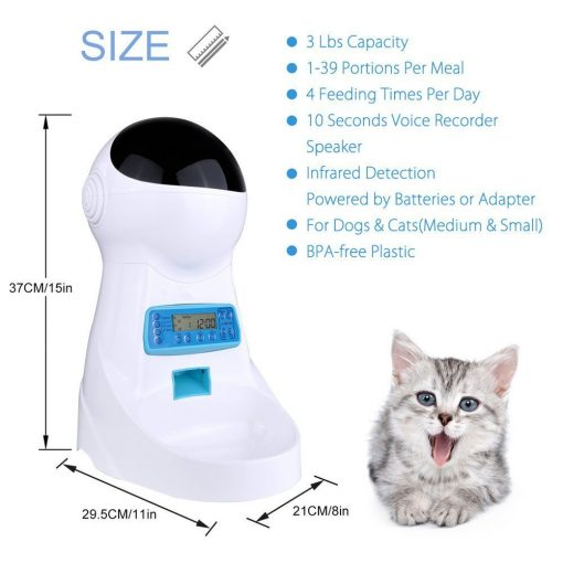Automatic Cat feeder and puppy dog feeder size