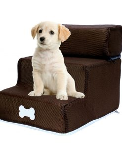 Dog steps for bed brown color