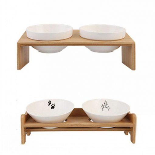 Raised dog bowls show detail