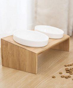 Raised dog bowls view